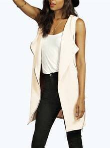 Apricot Sleeveless Zipper Blazer