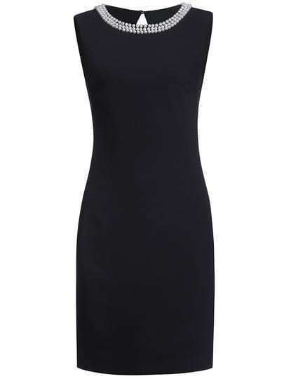 Black Round Neck Sleeveless Beading Bodycon Dress