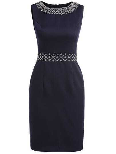 Navy Round Neck Sleeveless Beading Bodycon Dress