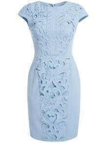 Blue Round Neck Cap Sleeve Embroidered Hollow Dress