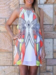 White Sleeveless Geometric Print Dress