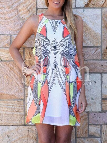 White Sleeveless Geometric Print Dress pictures