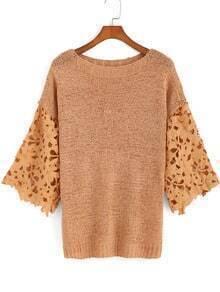 Khaki Round Neck Floral Crochet Knit Sweater