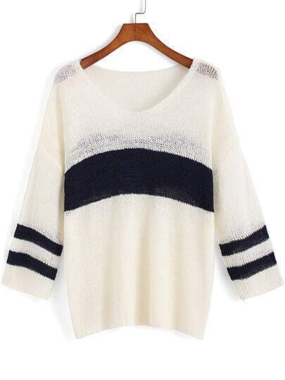 Blue White V Neck Striped Knit Sweater