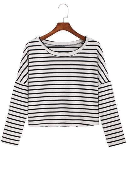 Black White Round Neck Striped Crop T-Shirt