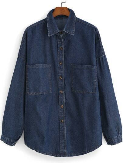 Navy Lapel Pockets Loose Denim Blouse