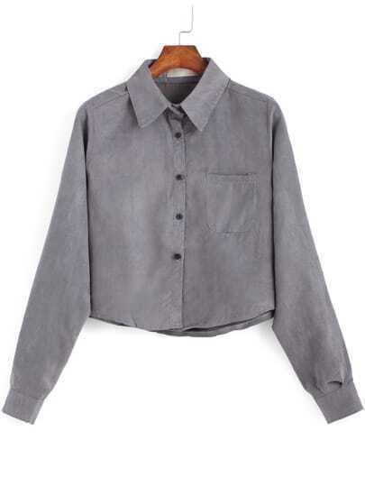 Grey Lapel Pocket Buttons Crop Blouse