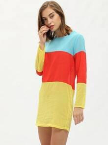 Multicolor Round Neck Chiffon Colorblock Straight Dress