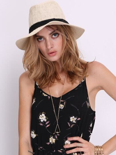 Beige Casual Weave Sunhat