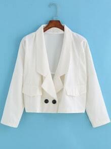 White Lapel Casual Crop Coat