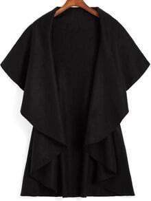 Black Lapel Dip Hem Loose Coat