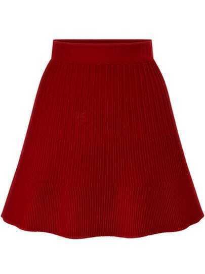 Red High Waist Striped Knit Skirt