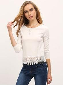 White Round Neck Floral Crochet Blouse