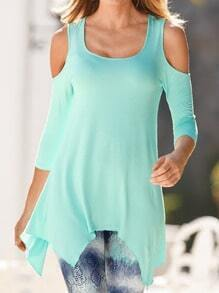 Green Off the Shoulder Slim Asymmetrical Blouse