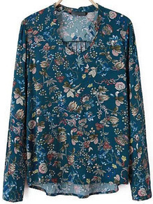Blue Stand Collar Floral Chiffon Blouse