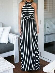Black White Halter Striped Backless Maxi Dress