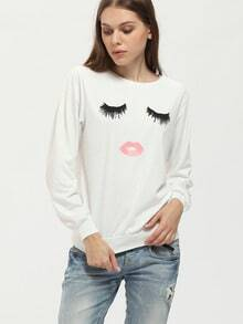 White Round Neck Eyelash Mouth Print Sweatshirt