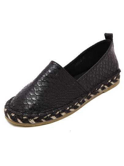 Black Weave Crocodile Pattern Flats