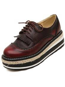 Wine Red Thick-soled Vintage PU Flats