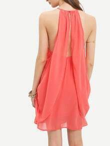 Red Melon Spaghetti Strap Asymmetric Dress
