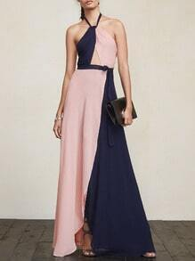 Pink Navy Braces Evening Floating Valentines Girly Classy Best Halter Color Block Maxi Dress Night Official Sexydresses