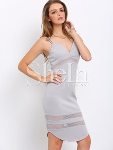 Grey Braces Shutter Slinky Spaghetti Strap Backless Zipper Wiggle Dress