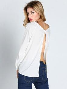 White Long Sleeve Split Back Blouse