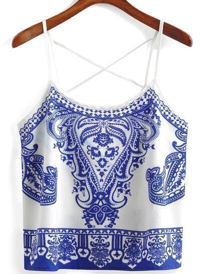 Spaghetti Strap Blue And White Porcelain Print Cami Top