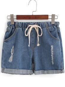Drawstring Cuffed Ripped Denim Shorts