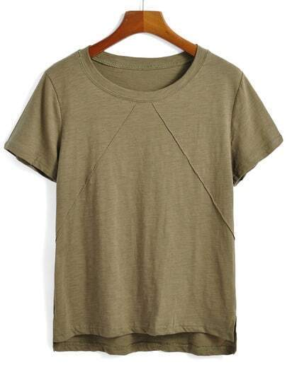 Dip Hem Army Green T-shirt