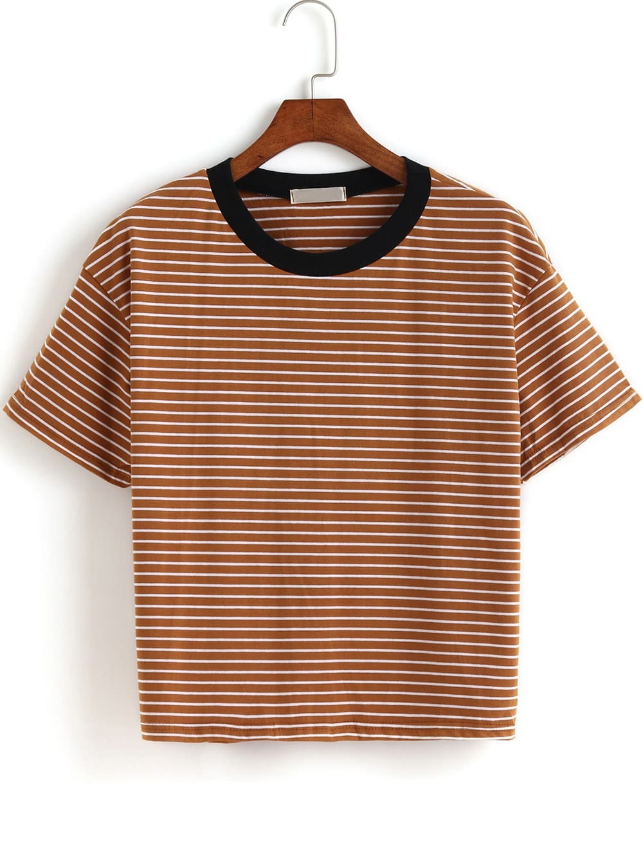 Фото Contrast Collar Striped T-shirt. Купить с доставкой