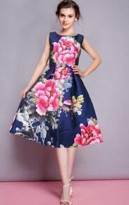 Sleeveless Florals Flare Navy Dress