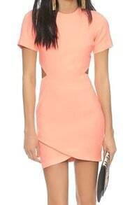 Short Sleeve Cut Out Wraped Orange Dress