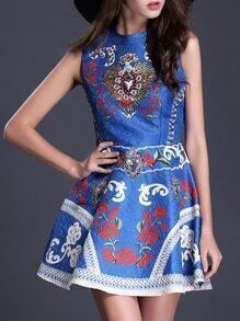 Blue Stand Collar Sleeveless Beading Print Flare Dress