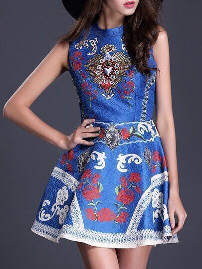 Blue Stand Collar Sleeveless Beading Print Flare Dress