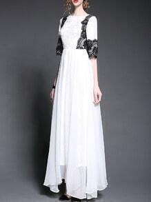 White Round Neck Half Sleeve Contrast Lace Maxi Dress