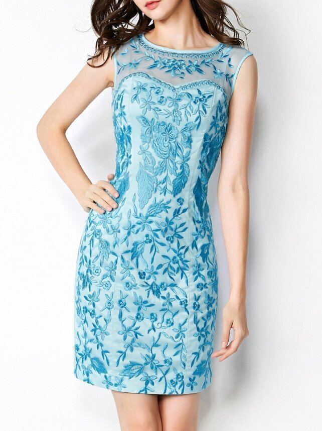 Light Blue Round Neck Sleeveless Contrast Gauze Embroidered Bodycon Dress