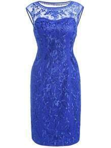 Blue Round Neck Sleeveless Contrast Gauze Embroidered Bodycon Dress