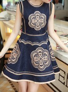 Navy Round Neck Sleeveless Embroidered Flare Dress