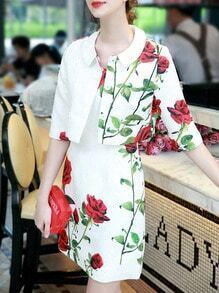 White Half Sleeve Two Pieces Rose Print Dress