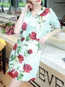 Green Half Sleeve Two Pieces Rose Print Dress