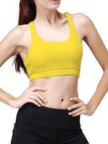 Yellow Crisscross Back Sports Chest Pad Tank Top