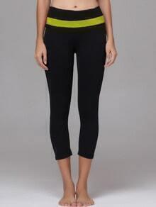 Olive Green Striped Trim Sports Leggings
