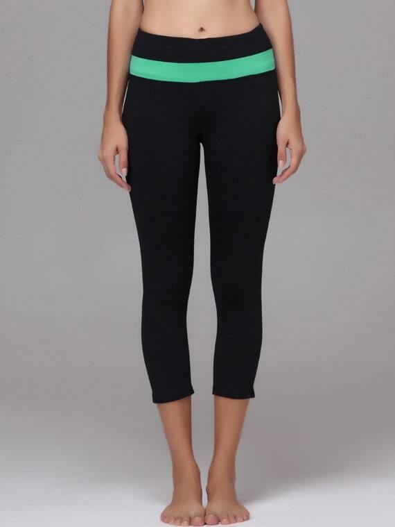Green Striped Trim Sports Leggings