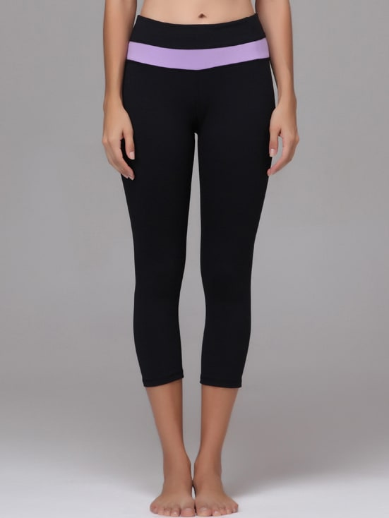Pale Purple Striped Trim Sports Leggings