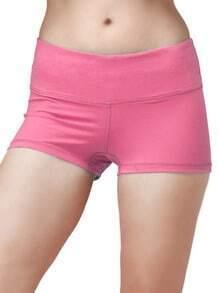 Peach Elastic Sports Shorts