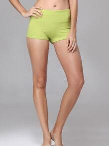 Olive Green Elastic Sports Shorts