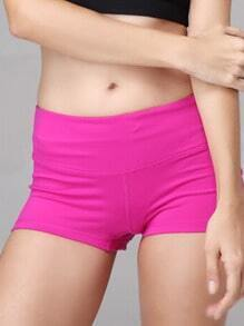 Rose Red Elastic Sports Shorts