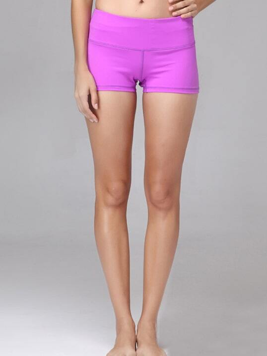 Purple Elastic Sports Shorts