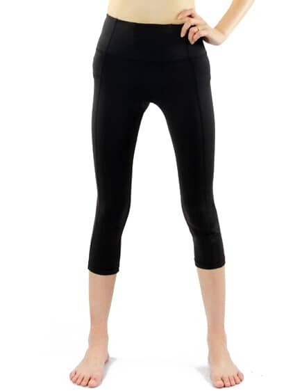 Black Elastic Folds Sports Leggings